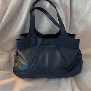 Coach Lexi Navy Metallic Satchel Handbag w/Pockets